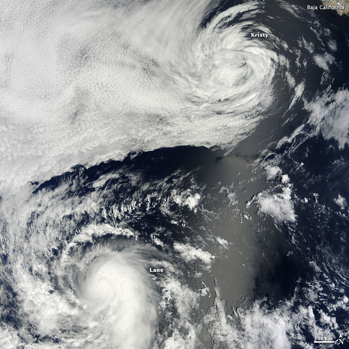 Eastern Pacific Tropical Cyclones off Baja California on 16 Sep 2012