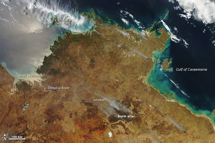 Bushfires in northern Australia on 13 October 2012