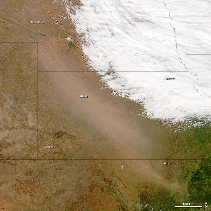 U.S. Great Plains Dust Storm on 18 October 2012