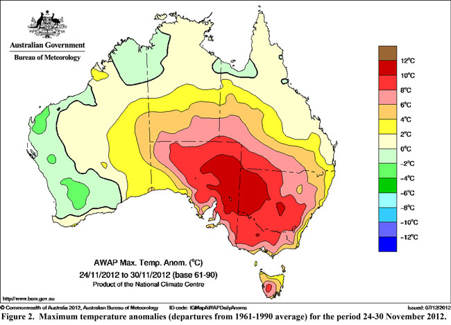 Extreme Heat in eastern Australian during November 2012