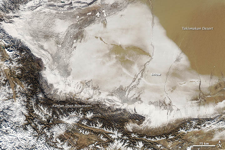 Snow-covered Chinese Desert on 02 January 2013