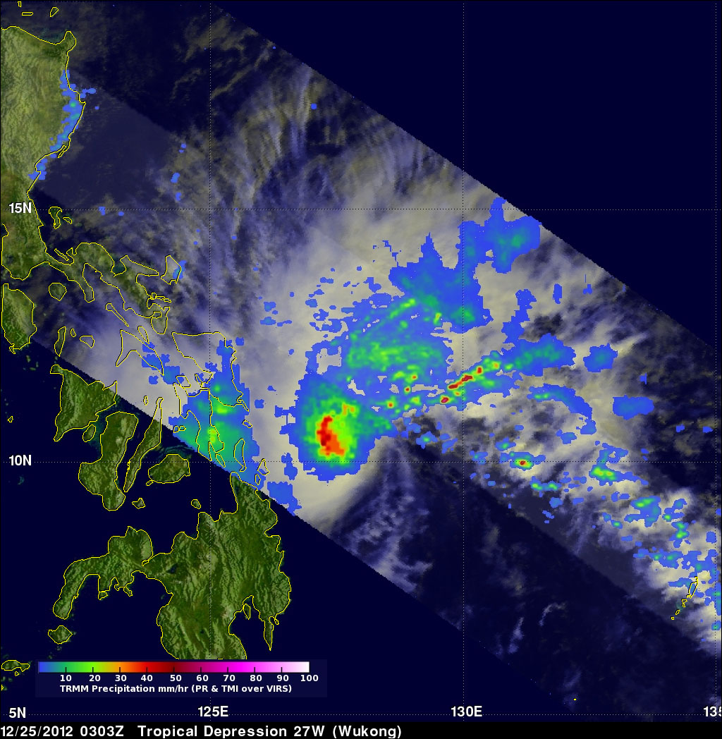 Heavy rainfall neared Philippines on 25 December 2012