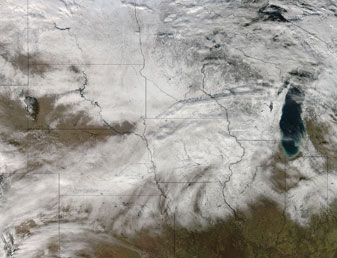 Snowfall spanned central U.S. on 22 December 2012