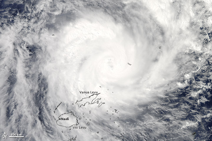 Tropical Cyclone Evan neared Fiji on 16 December 2012