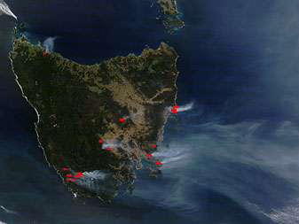 Tasmanian Fires in Australia during January 2013