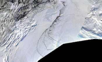 Arctic Sea Ice Fracture near Alaska during February 2013