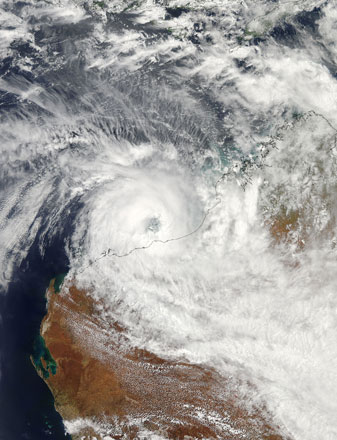 Tropical Cyclone Rusty spun off the shore of Western Australia on 26 February 2013