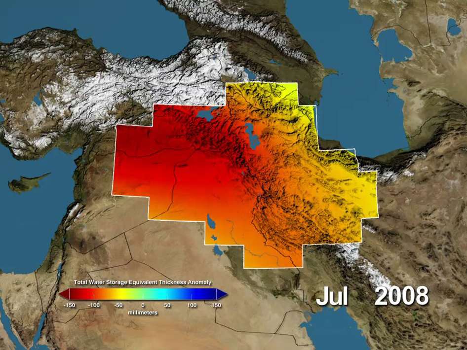 Middle East Water Storage Anomalies during July 2008