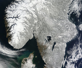 Snow covered Scandinavia on 23 March 2013