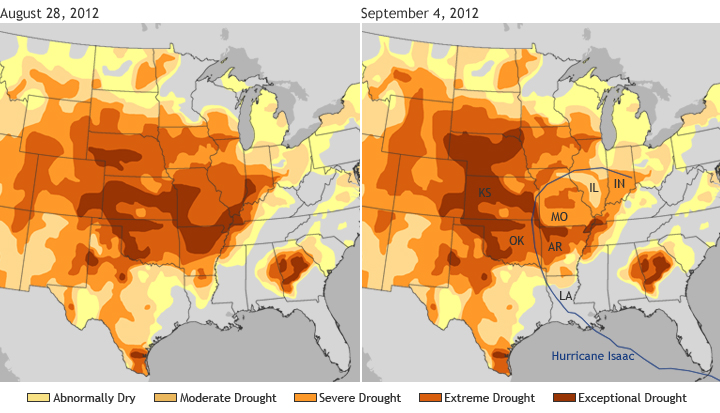 Hurricane Isaac does little to relieve U.S. drought