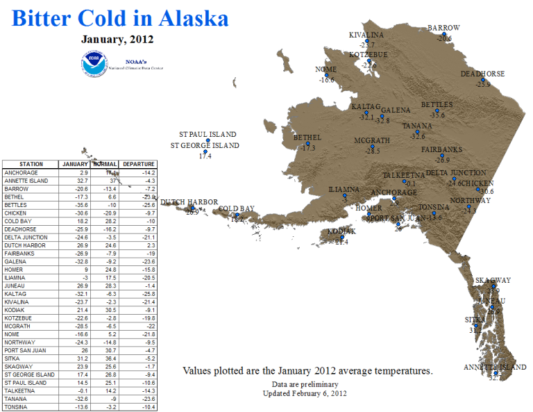 Alaska January 2012 Station Temperatures