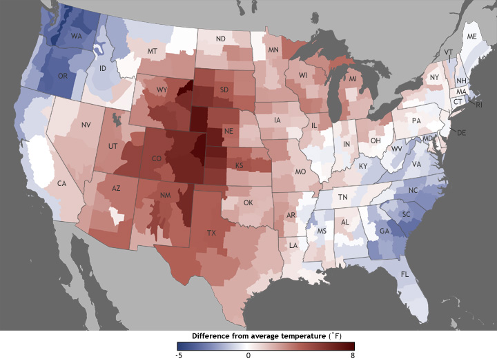 June Divisional Temperature Anomalies