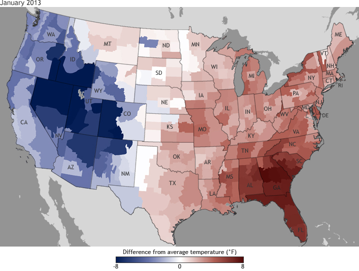 Difference from average temperature, January 2013