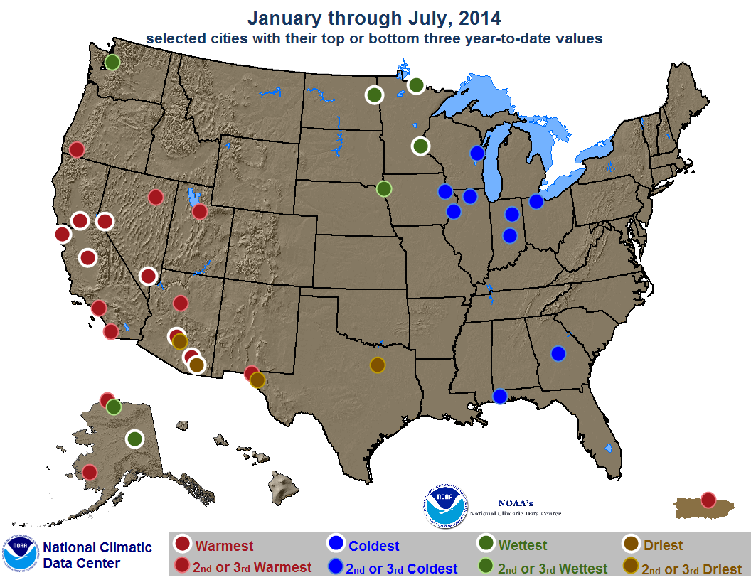 map depicting record or near-record warn, cold, rainy or dry conditions for January through July 2014