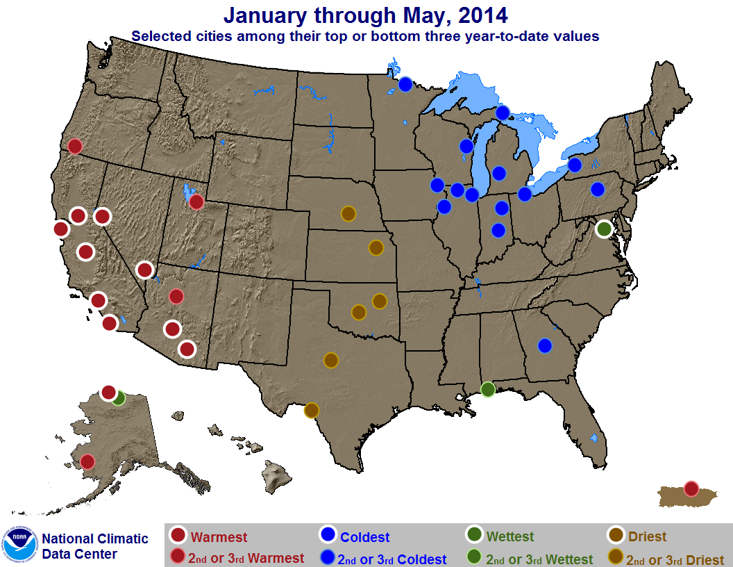 map depicting record or near-record warn, cold, rainy or dry conditions for January through May 2014
