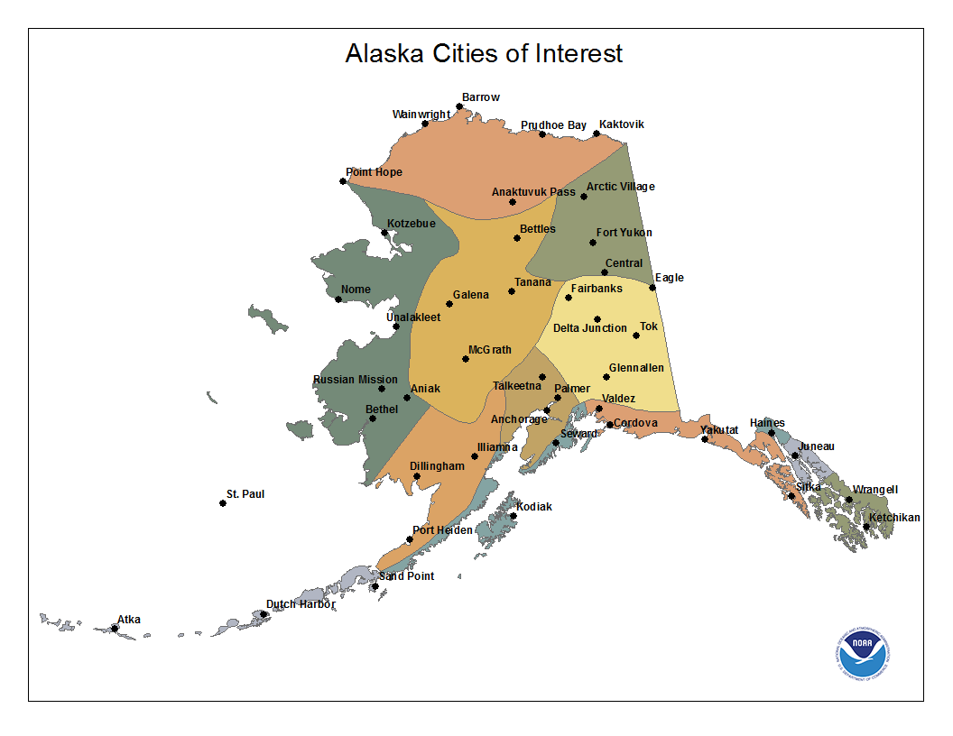 National Climate Report February Alaska Reference Maps - Alaskan map