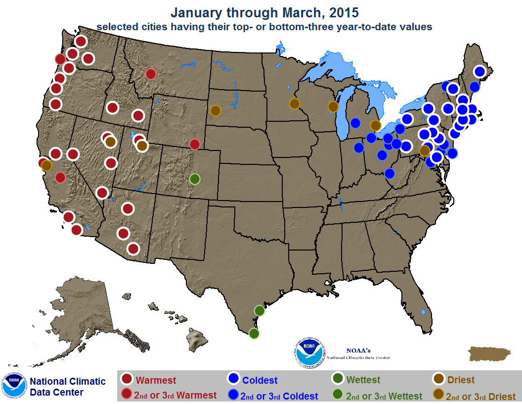 map depicting record or near-record warn, cold, rainy or dry conditions for First Quarter 2015