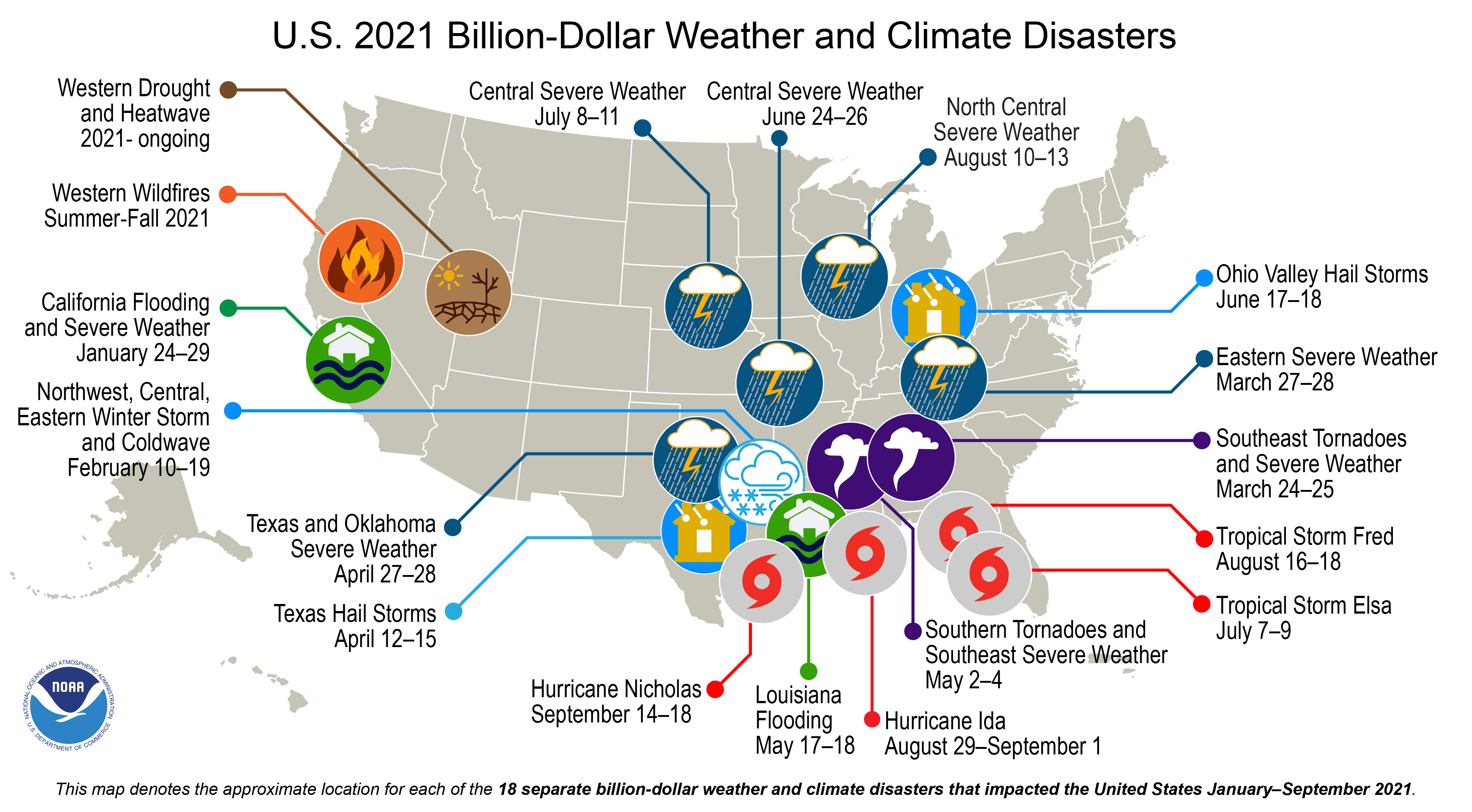 2021 Billion Dollar Weather and Climate Disaster Map