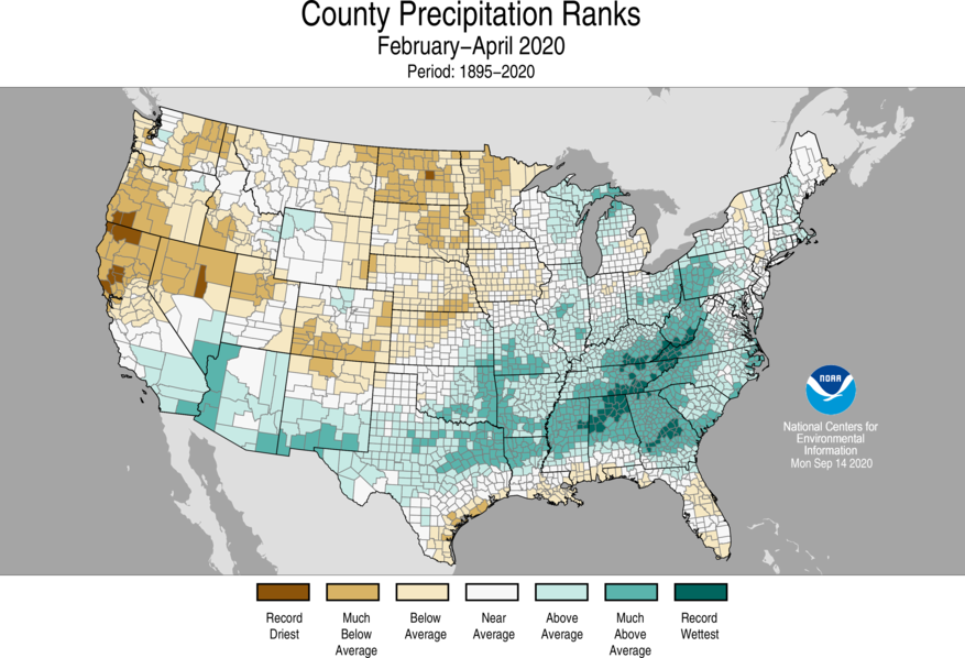 3-Month County Precipitation Ranks