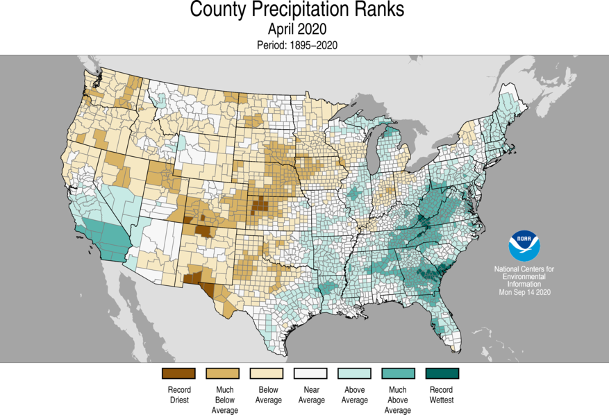 1-Month County Precipitation Ranks