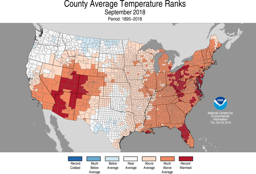 1-Month County Average Temperature Ranks