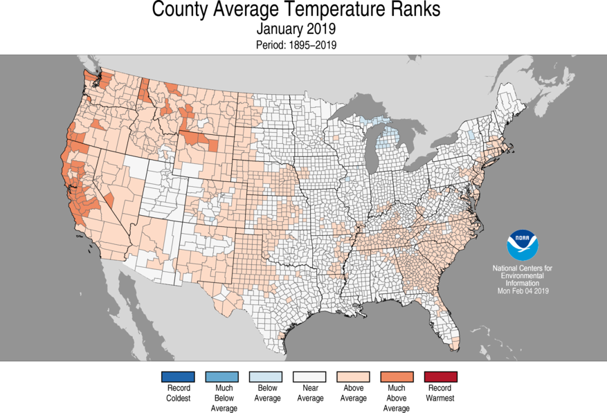 12-Month County Average Temperature Ranks