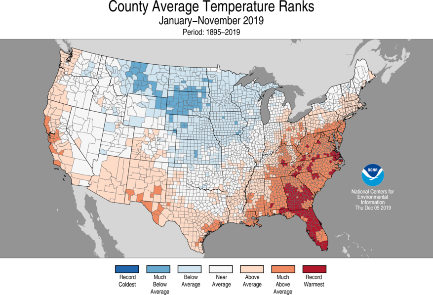 Year-to-Date County Average Temperature Ranks