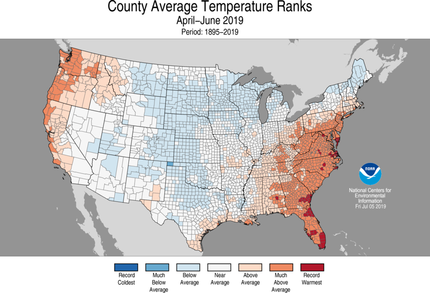 3-Month County Average Temperature Ranks
