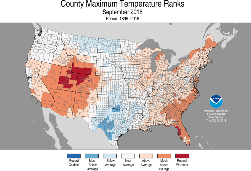 1-Month County Maximum Temperature Ranks