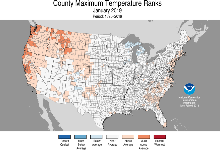 12-Month County Maximum Temperature Ranks
