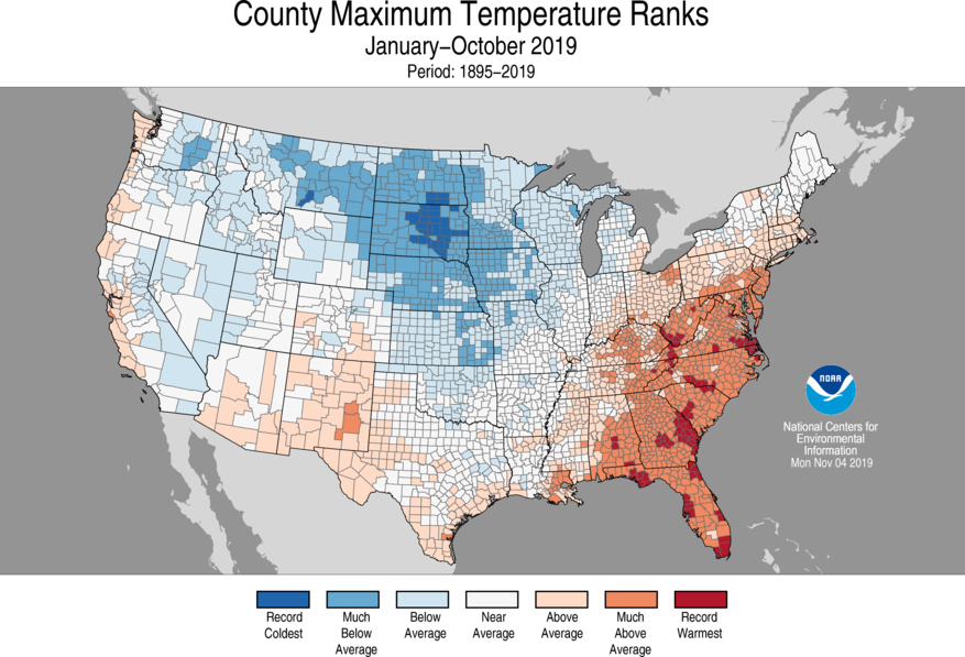 Year-to-Date County Maximum Temperature Ranks
