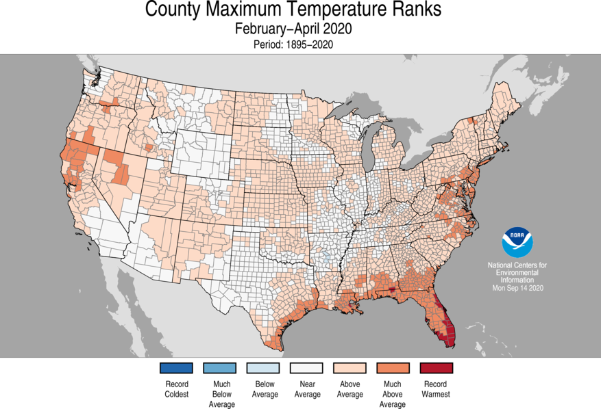 3-Month County Maximum Temperature Ranks