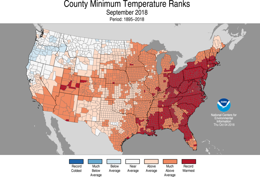 1-Month County Minimum Temperature Ranks