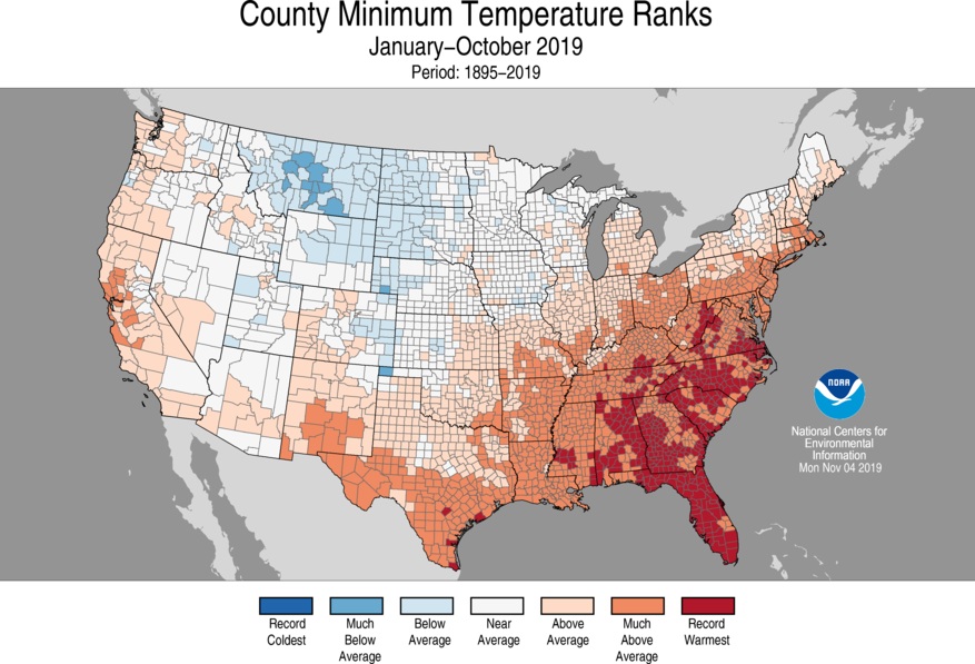 Year-to-Date County Minimum Temperature Ranks