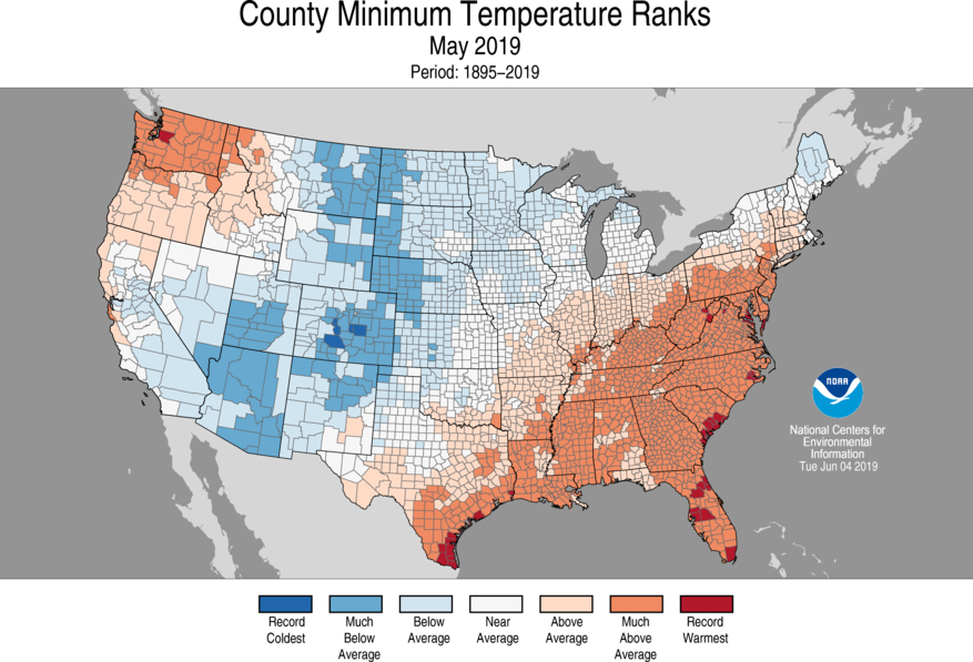12-Month County Minimum Temperature Ranks