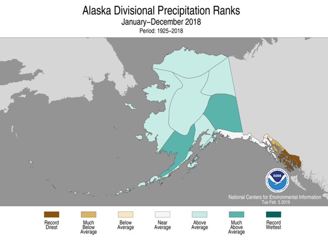 2018 Alaska Precipitation Rank Map