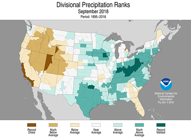 1-Month Divisional Precipitation Ranks