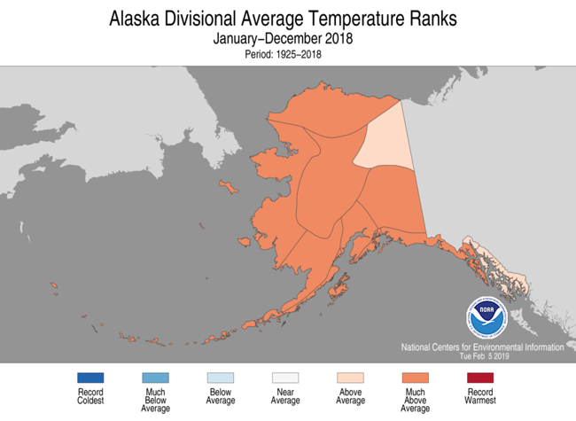 2018 Alaska Temperature Rank Map