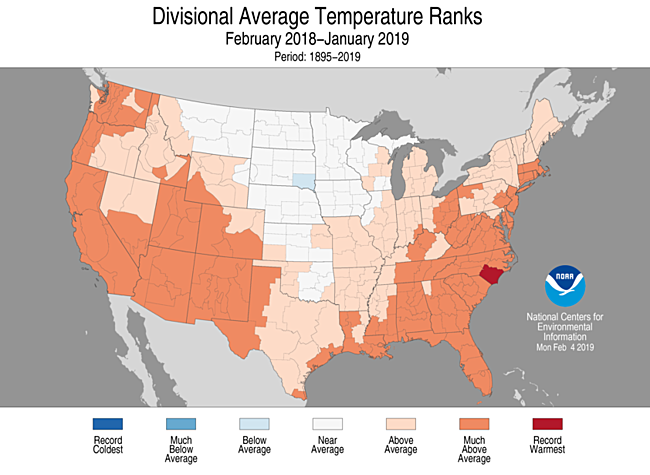 12-Month Divisional Average Temperature Ranks