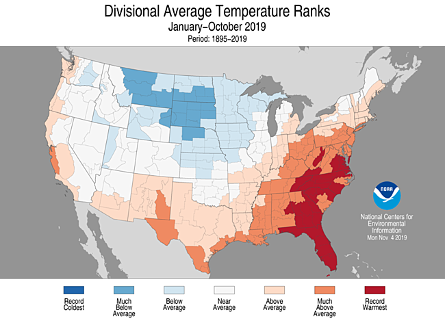 Year-to-Date Divisional Average Temperature Ranks