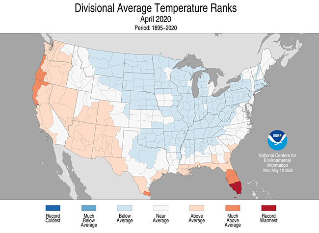 1-Month Divisional Average Temperature Ranks