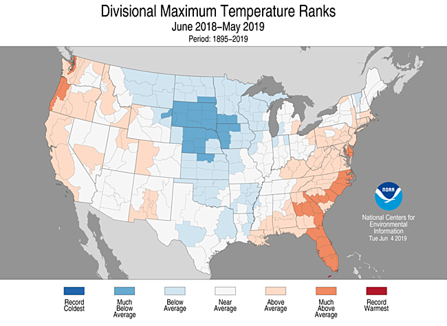 12-Month Divisional Maximum Temperature Ranks
