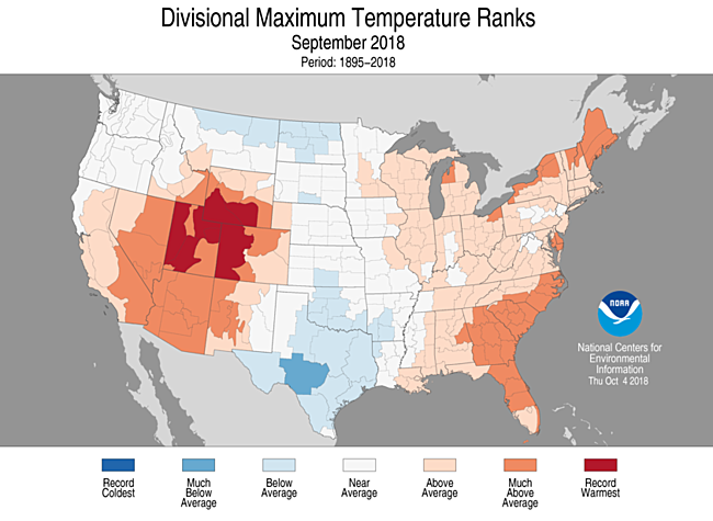 1-Month Divisional Maximum Temperature Ranks