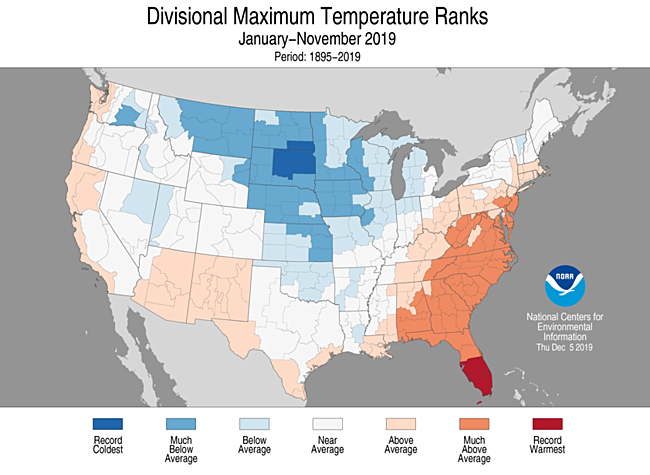 Year-to-Date Divisional Maximum Temperature Ranks