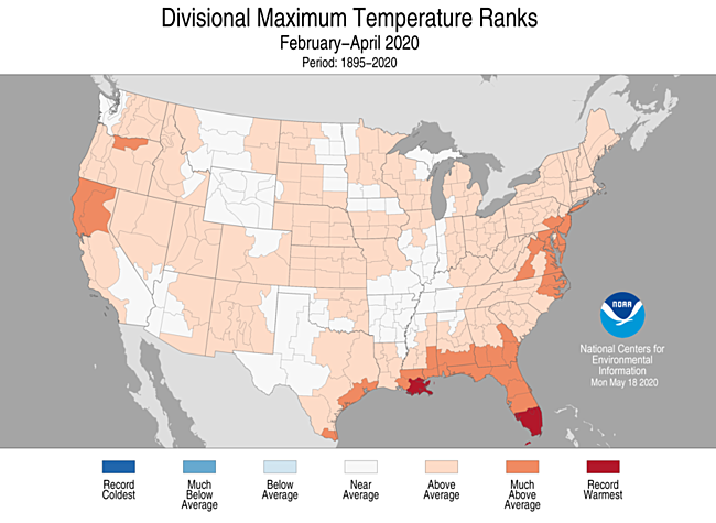 3-Month Divisional Maximum Temperature Ranks