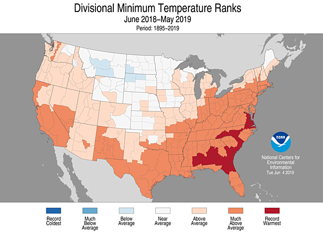 12-Month Divisional Minimum Temperature Ranks