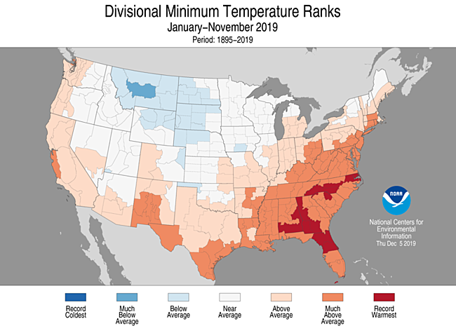 Year-to-Date Divisional Minimum Temperature Ranks