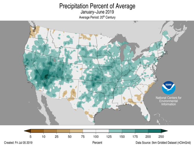 January-June Percent of Average Precip