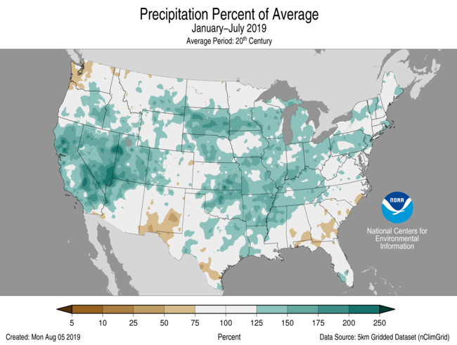 January-July Percent of Average Precip