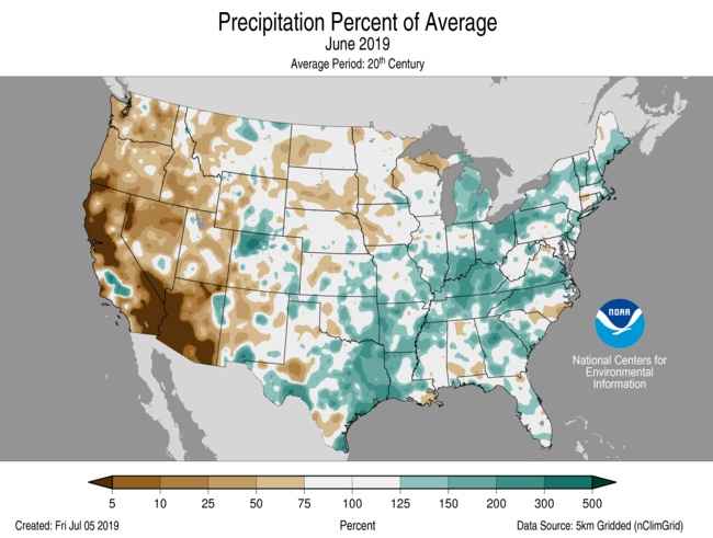 June Percent of Average Precip